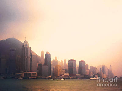 Hong Kong Wall Art - Painting - Hong Kong Harbour Sunset by Pixel  Chimp