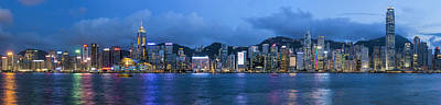 Central Photograph - Hong Kong Island Central City Skyline At Blue Hour by David Gn