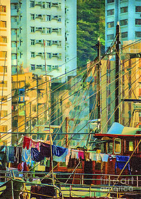 Digital Art - Hong Kong by Liz Leyden