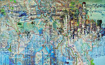Digital Art - Hong Kong Map City  by Mary Clanahan