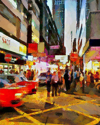 Hong Kong Night Lights 2 Print by Yury Malkov