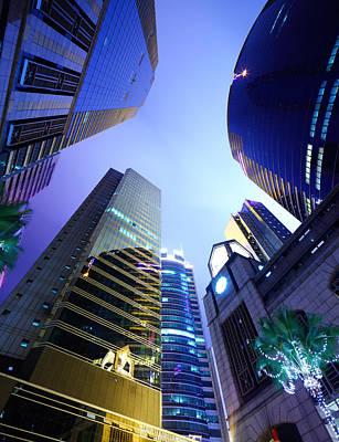 Financial District Photograph - Hong Kong Office Building At Night by Ngkaki