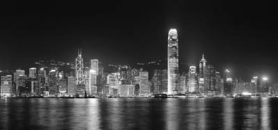 Photograph - Hong Kong Panorama In Black And White by Songquan Deng