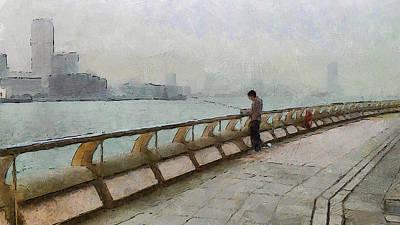 Building Exterior Digital Art - Hong Kong Promenade Fishing by Yury Malkov