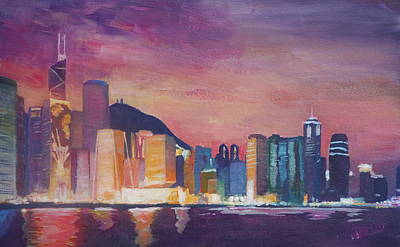 Hong Kong Painting - Hong Kong Skyline At Night  by M Bleichner