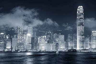 Photograph - Hong Kong Skyline Black And White by Songquan Deng