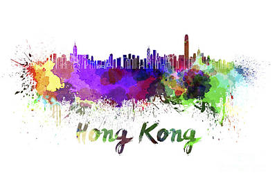 Hong Kong Painting - Hong Kong Skyline In Watercolor by Pablo Romero
