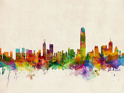Cities Digital Art - Hong Kong Skyline by Michael Tompsett