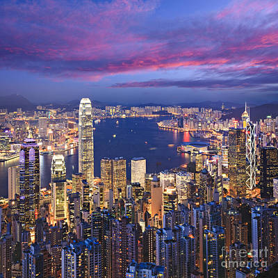 Hong Kong Skyline Twilight Square Art Print
