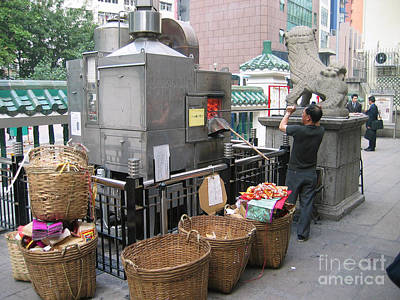 Digital Art - Hong Kong Street Money Burner by Eva Kaufman