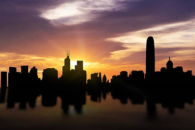 Hong Kong Sunset Skyline  Art Print by Aged Pixel