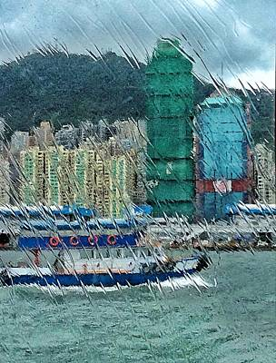 Digital Art - Hong Kong Throgh Rain Window by Yury Malkov
