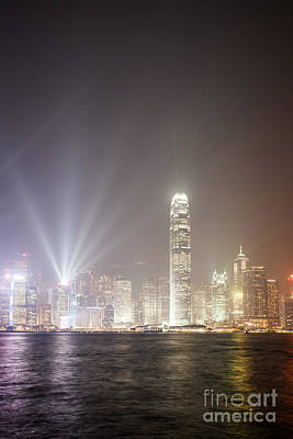 Hong Kong Victoria Harbor At Night With Light Show Print by Matteo Colombo