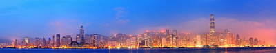Photograph - Hong Kong Victoria Harbor Panorama by Songquan Deng