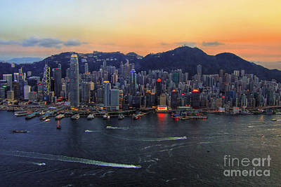 Arial View Photograph - Hong Kong's Skyline During A Beautiful Sunset by Lars Ruecker