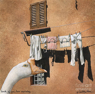 Washday Painting - Honk If You Love Wash Day... by Will Bullas