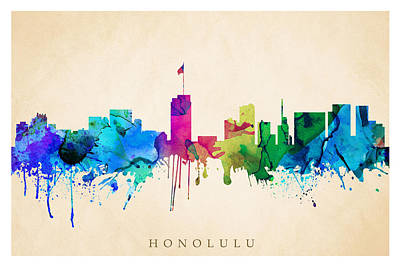 Digital Art - Honolulu Cityscape by Steve Will