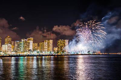 Photograph - Honolulu Fireworks 1 by Jason Chu