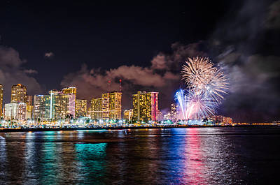 Photograph - Honolulu Fireworks 2 by Jason Chu