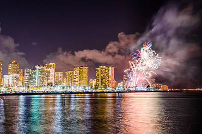 Photograph - Honolulu Fireworks 3 by Jason Chu