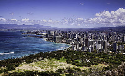 Honolulu From Diamond Head Art Print by Joanna Madloch