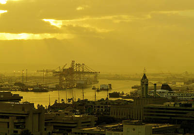 Photograph - Honolulu Harbor At Sunset by Lehua Pekelo-Stearns
