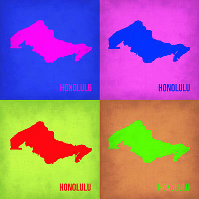 Honolulu Painting - Honolulu Pop Art Map 1 by Naxart Studio