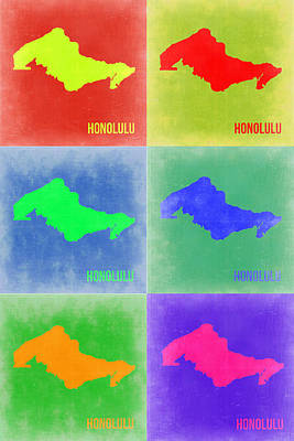 Country Map City Map Painting - Honolulu Pop Art Map 5 by Naxart Studio
