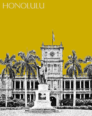 Honolulu Skyline King Kamehameha - Gold Art Print