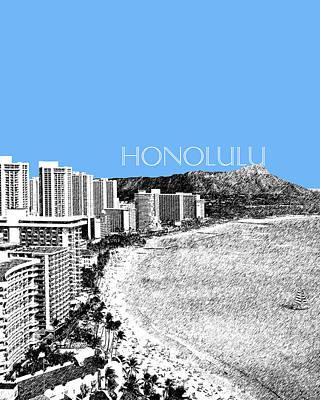 Pen Digital Art - Honolulu Skyline Waikiki Beach - Light Blue by DB Artist