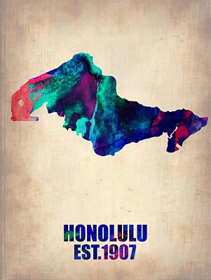 Honolulu Painting - Honolulu Watercolor Map by Naxart Studio