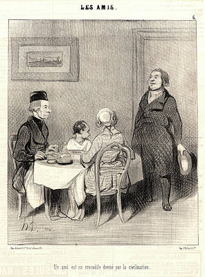 Old Friends Drawing - Honoré Daumier French, 1808 - 1879. A Friend by Litz Collection