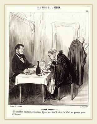 Glass Bottle Drawing - Honoré Daumier French, 1808-1879, Au Café Daguesseau by Litz Collection