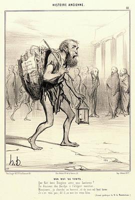 Paper Images Drawing - Honoré Daumier French, 1808 - 1879. Bon Mot Du Temps by Litz Collection