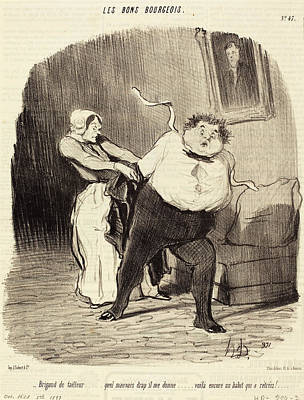 Tr Drawing - Honoré Daumier French, 1808 - 1879, Brigand De Tailleur by Quint Lox