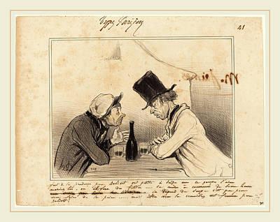 Glass Bottle Drawing - Honoré Daumier French, 1808-1879, Faut De La Prudence by Litz Collection