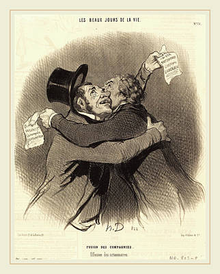 Fusion Drawing - Honoré Daumier French, 1808-1879, Fusion Des Compagnies by Litz Collection