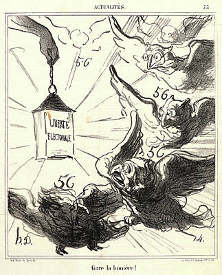 Gare Drawing - Honoré Daumier French, 1808 - 1879. Gare La Lumière by Litz Collection