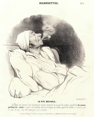 Paper Images Drawing - Honoré Daumier French, 1808 - 1879. La Pipe Matinale by Litz Collection