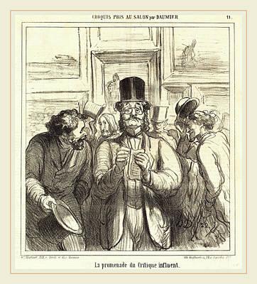Critique Drawing - Honoré Daumier French, 1808-1879, La Promenade Du Critique by Litz Collection