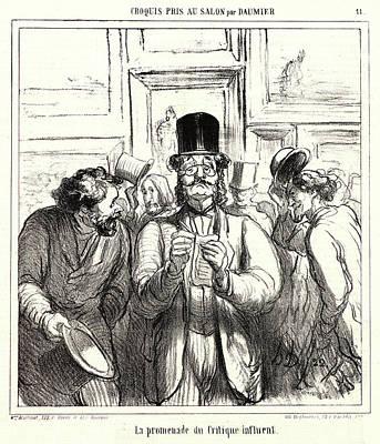 Critique Drawing - Honoré Daumier French, 1808 - 1879. La Promenade Du by Litz Collection