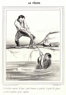 Paper Images Drawing - Honoré Daumier French, 1808 - 1879. Le Barbillon Entraine by Litz Collection