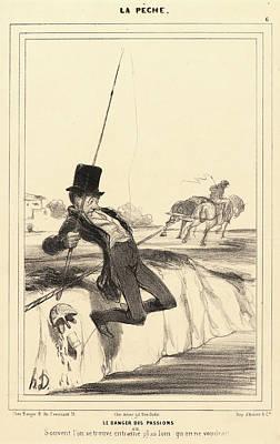 Paper Images Drawing - Honoré Daumier French, 1808 - 1879. Le Danger Des Passions by Litz Collection