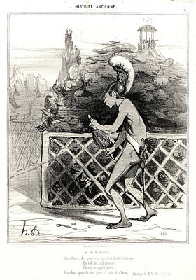Paper Images Drawing - Honoré Daumier French, 1808 - 1879. Le Fil Dariane by Litz Collection