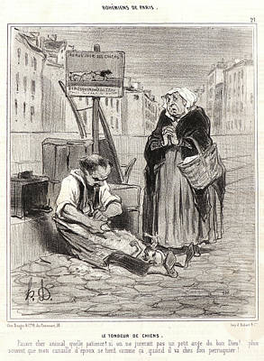 Paper Images Drawing - Honoré Daumier French, 1808 - 1879. Le Tondeur De Chiens by Litz Collection