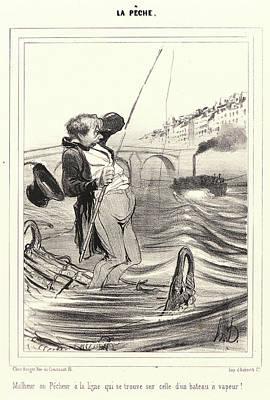 Ligne Drawing - Honoré Daumier French, 1808 - 1879. Malheur Au Pêcheur by Litz Collection