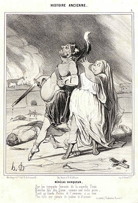 Paper Images Drawing - Honoré Daumier French, 1808 - 1879. Menelas Vainqueur by Litz Collection