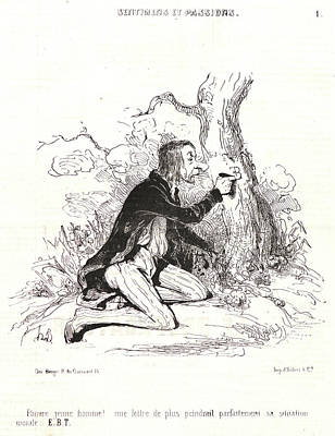 Paper Images Drawing - Honoré Daumier French, 1808 - 1879. Pauvre Jeune Homme by Litz Collection