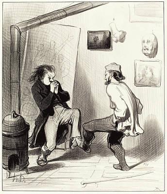 Dernier Drawing - Honoré Daumier French, 1808 - 1879, Quand On A Brulé Son by Quint Lox
