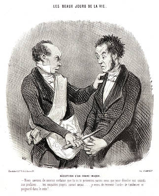 Macon Drawing - Honoré Daumier French, 1808 - 1879. Réception Dun by Litz Collection